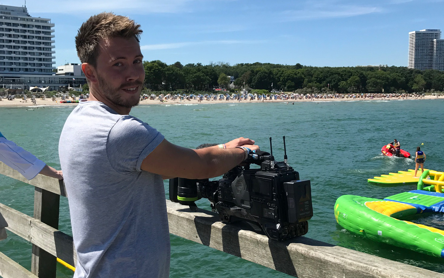 Dreharbeiten von RTL Nord beim wibit watersports-Park in Timmendorfer Strand